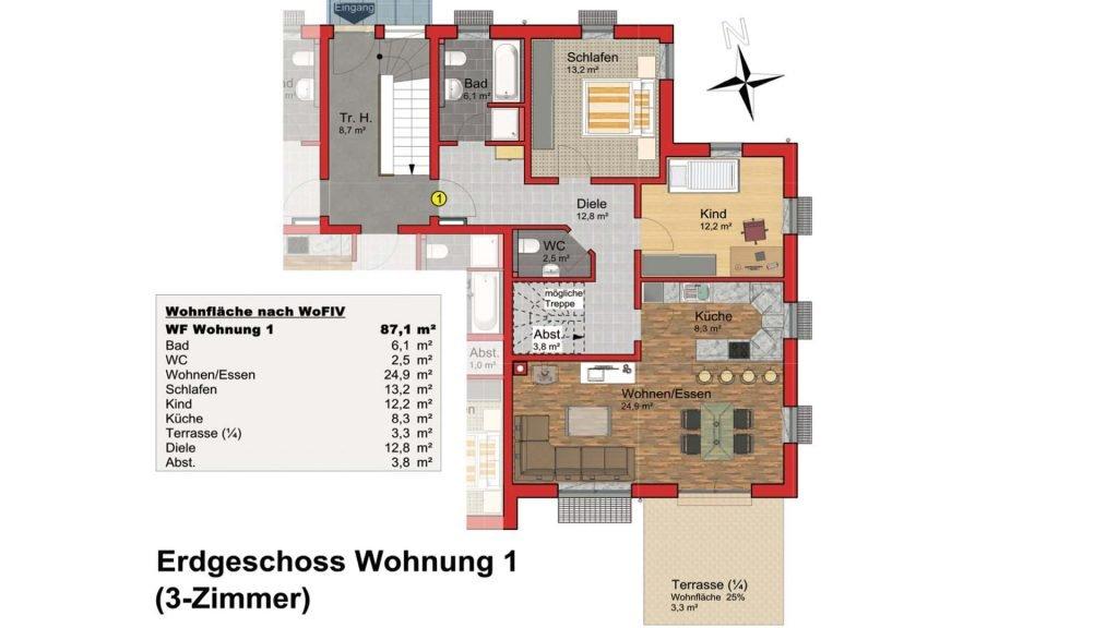 Marktgärten Schnaittach: Grundriss 3-Zimmer-Wohnung